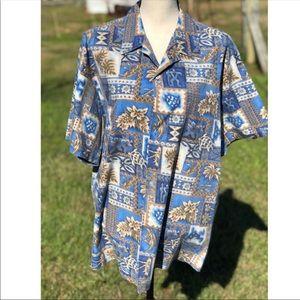 b8ed559d6b4d Men's Howie Blue/Gold Hawaiian Button Down Shirt